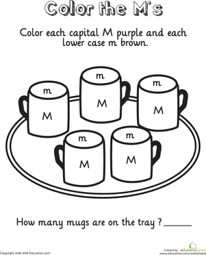 Kindergarten Reading & Writing Worksheets: Learning the Letter M