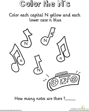 Kindergarten Reading & Writing Worksheets: Learning the Letter N