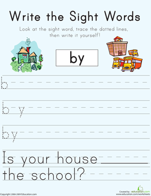 "First Grade Reading & Writing Worksheets: Write the Sight Words: ""By"""