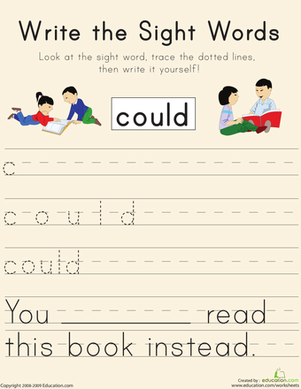 "First Grade Reading & Writing Worksheets: Write the Sight Words: ""Could"""