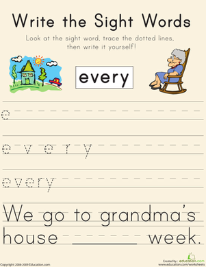 "Kindergarten Reading & Writing Worksheets: Write the Sight Words: ""Every"""