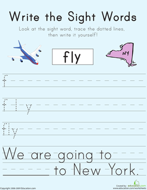 "First Grade Reading & Writing Worksheets: Write the Sight Words: ""Fly"""