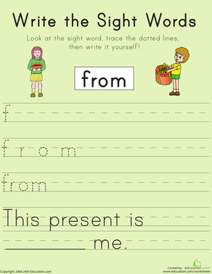 "First Grade Reading & Writing Worksheets: Write the Sight Words: ""From"""
