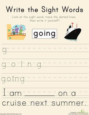 "First Grade Reading & Writing Worksheets: Write the Sight Words: ""Going"""