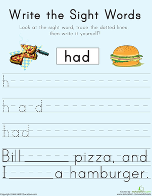 "First Grade Reading & Writing Worksheets: Write the Sight Words: ""Had"""