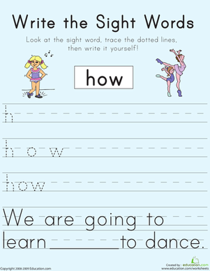 "First Grade Reading & Writing Worksheets: Write the Sight Words: ""How"""