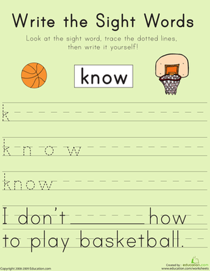 "First Grade Reading & Writing Worksheets: Write the Sight Words: ""Know"""