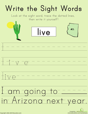 "First Grade Reading & Writing Worksheets: Write the Sight Words: ""Live"""