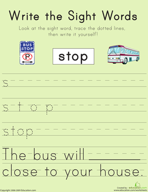 "First Grade Reading & Writing Worksheets: Write the Sight Words: ""Stop"""