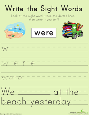 "First Grade Reading & Writing Worksheets: Write the Sight Words: ""Were"""