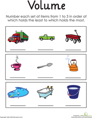 First Grade Math Worksheets: Determining Relative Volume