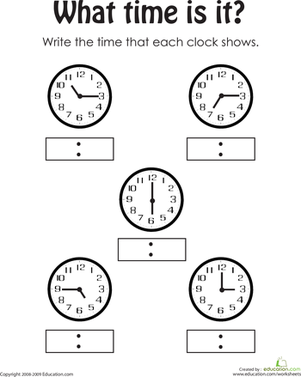 First Grade Math Worksheets: Telling the Time 2
