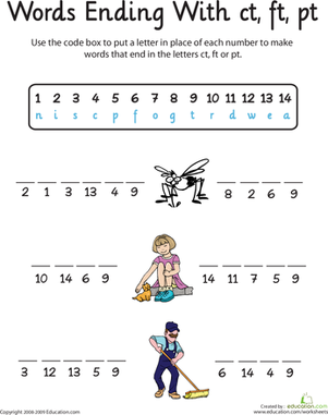 First Grade Reading & Writing Worksheets: Word Endings: -Ct, -Ft, and -Pt