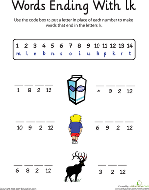 First Grade Reading & Writing Worksheets: Words Ending in: Lk