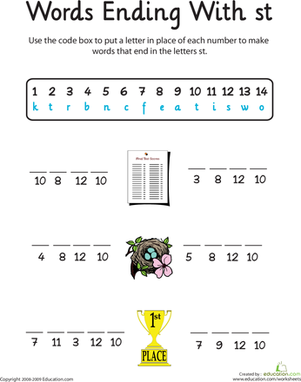 First Grade Reading & Writing Worksheets: Word Endings: -St