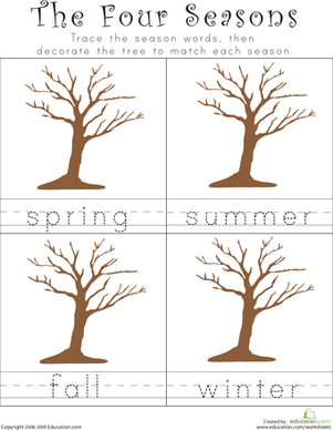 Kindergarten Reading & Writing Worksheets: Writing the Four Seasons