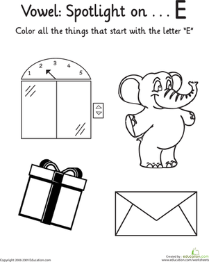Kindergarten Reading & Writing Worksheets: Things That Start with E: Vowel Spotlight
