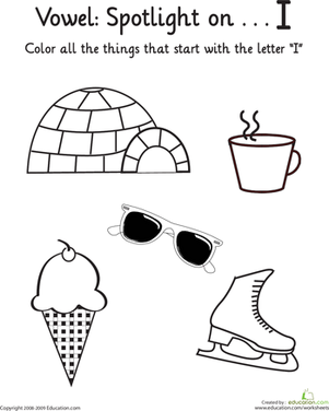 Kindergarten Reading & Writing Worksheets: Things That Start with I: Vowel Spotlight