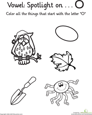 "Kindergarten Reading & Writing Worksheets: Learning Vowels: ""O"""
