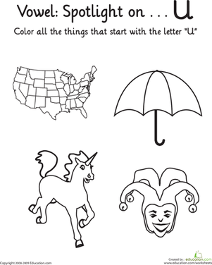 "Kindergarten Reading & Writing Worksheets: Learning Vowels: ""U"""