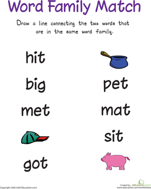 Kindergarten Reading & Writing Worksheets: Word Family Match I