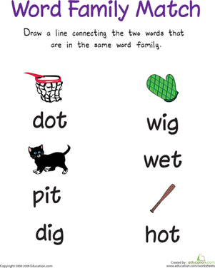 Kindergarten Reading & Writing Worksheets: Rhyming Word Families