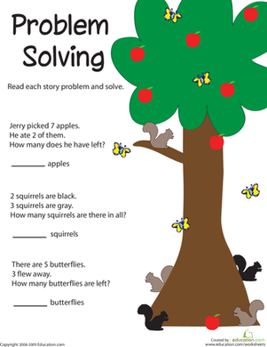 First Grade Math Worksheets: Problem Solving: Adding Apples