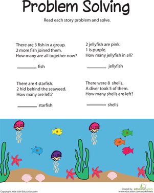addition and subtraction word problems sea life worksheet. Black Bedroom Furniture Sets. Home Design Ideas