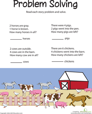 First Grade Math Worksheets: Animal Addition: Problem Solving