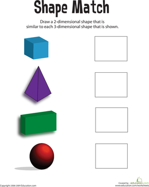 First Grade Math Worksheets: Matching Shapes: 3D to 2D