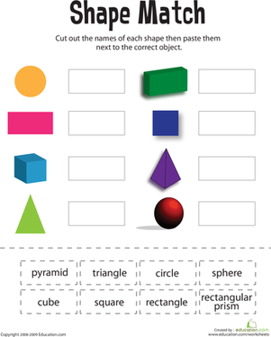 First Grade Math Worksheets: Shape Match