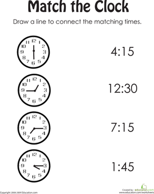 First Grade Math Worksheets: Match the Clock II