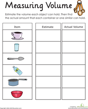 Measuring Volume: How Much Liquid Can it Hold? | Worksheet | Education ...