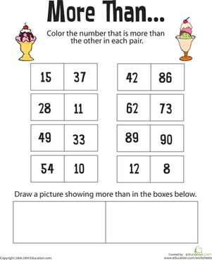 First Grade Math Worksheets: Practicing More Than...