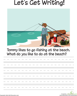 First Grade Reading & Writing Worksheets: Let's Get Writing: The Beach