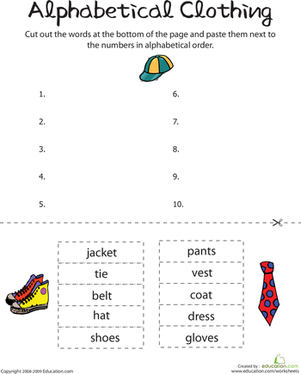 Alphabetizing To The First Letter Worksheets