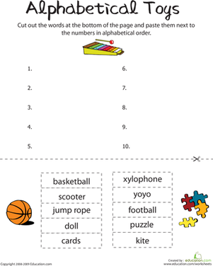First Grade Reading & Writing Worksheets: Alphabetical Toys