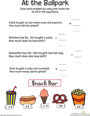 First Grade Math Worksheets: At the Ballpark: Addition and Subtraction