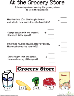 Math Worksheets supermarket math worksheets : At the Grocery Store: Addition and Subtraction | Worksheet ...