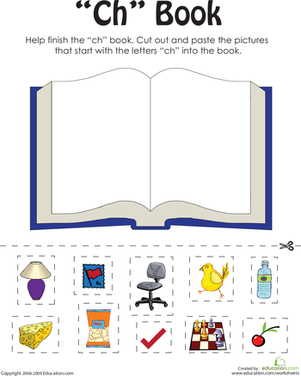 "First Grade Reading & Writing Worksheets: ""Ch"" Words: A Word Family Book"
