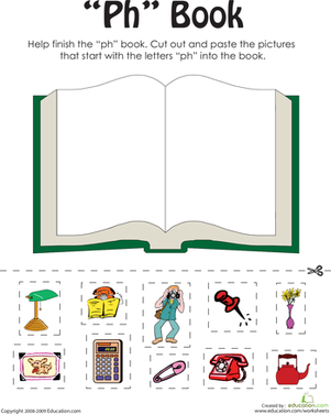 "First Grade Reading & Writing Worksheets: ""Ph"" Words: A Word Family Book"