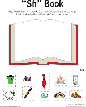 "First Grade Reading & Writing Worksheets: ""Sh"" Words: A Word Family Book"