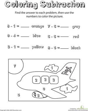 First Grade Math Worksheets: Coloring Subtraction: Sky Scene
