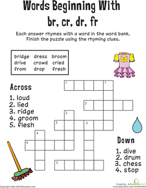 First Grade Reading & Writing Worksheets: Consonant Crossword: Words Beginning with Br, Cr, Dr, Fr