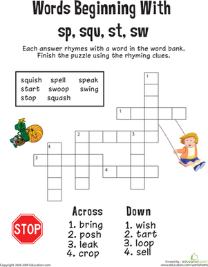 First Grade Reading & Writing Worksheets: Consonant Crossword: Words Beginning with Sp, Squ, St, Sw