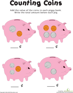 Counting coins in the piggy bank worksheet - Counting piggy bank ...