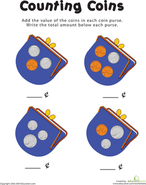 First Grade Math Worksheets: Counting Coins in the Purse