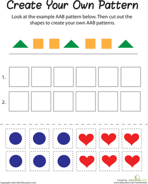 First Grade Math Worksheets: AAB Pattern