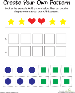 First Grade Math Worksheets: AABB Pattern