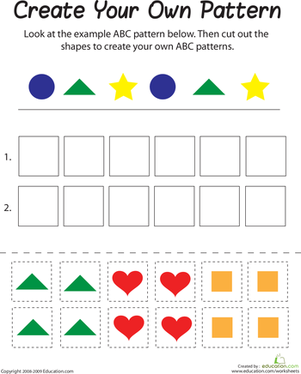 First Grade Math Worksheets: ABC Pattern